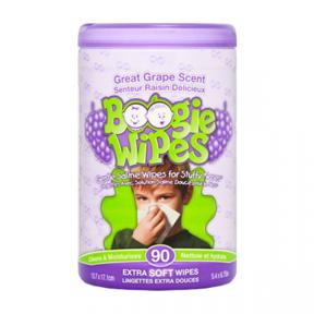 Boogie Wipes Saline Nose Wipes Canister, Geat Grape 90ct