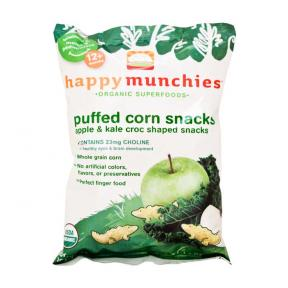 Happy Baby Happy Munchies Puffed Corn Snacks - Apple & Kale 40g