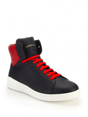 Alexender Mcqueen Leather High-Top Sneakers