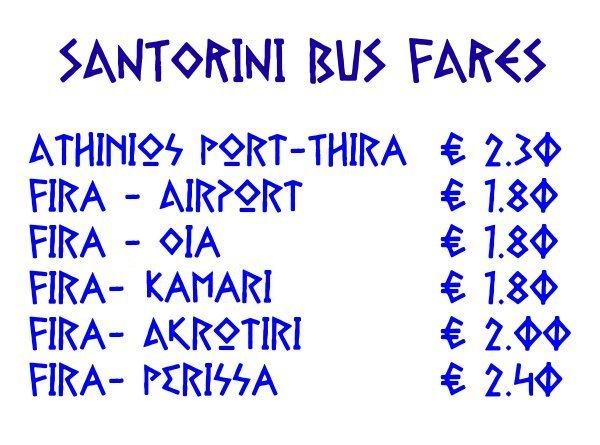 Santorini Bus Fares