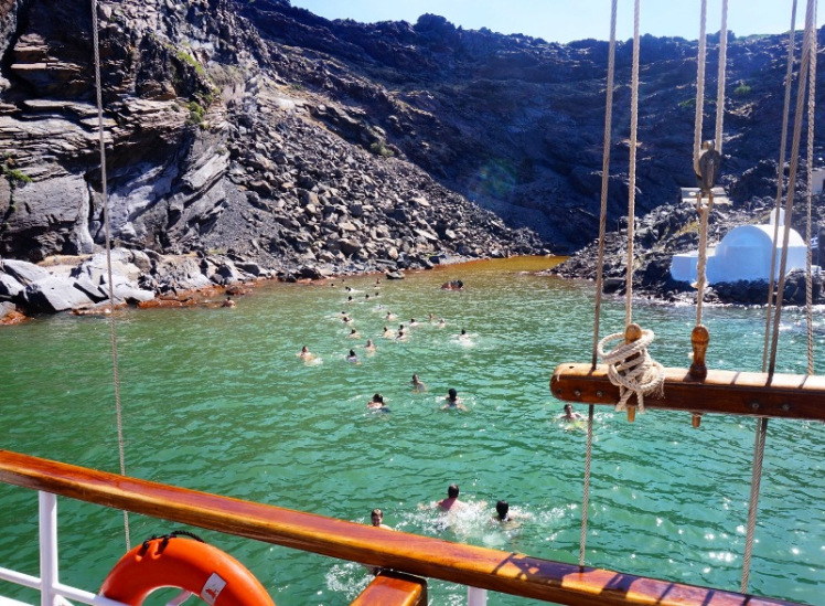 The hot spring in Palia Kameni island.