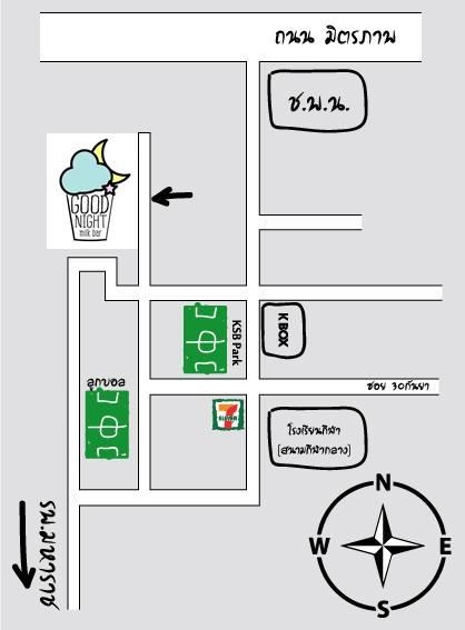 แผนที่ร้าน Good Night Milk Bar (ภาพจาก FB ร้าน)