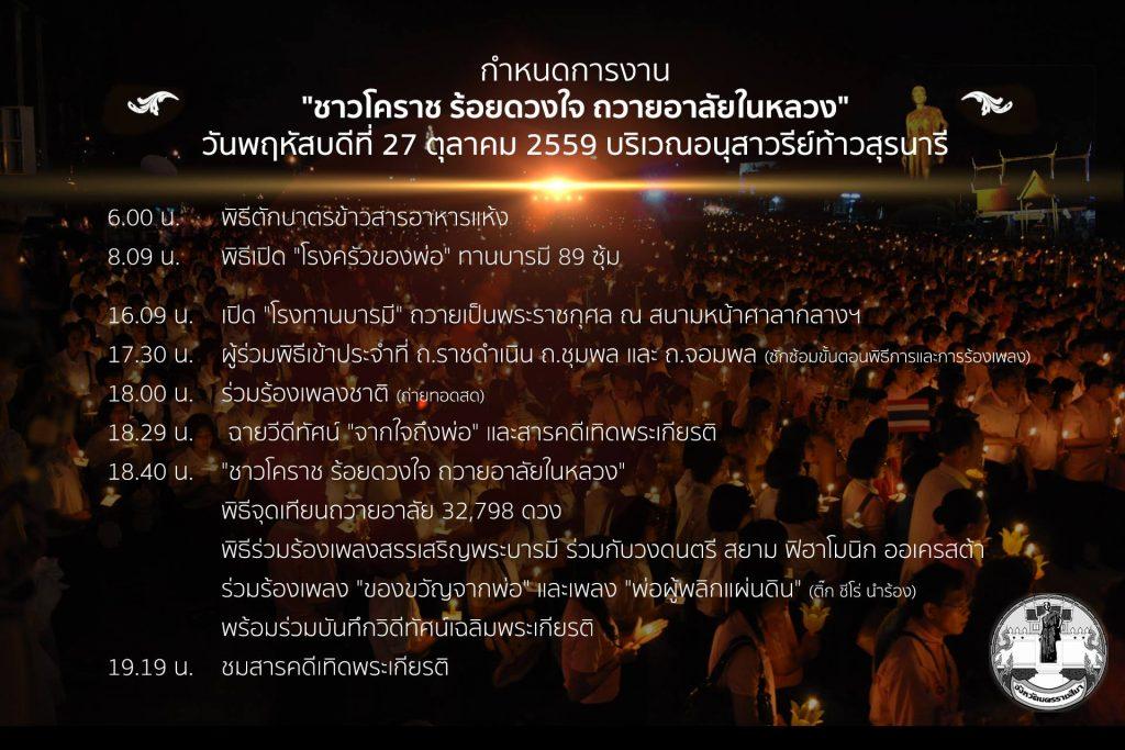 กำหนดการกิจกรรม ชาวโคราช ร้อยดวงใจ ถวายความอาลัยในหลวง 27 ตุลาคม 2559