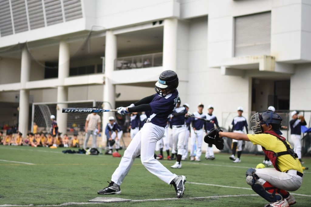 Baseball game in action
