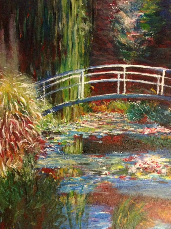The writer's daughter's reproduction of Monet's 'Lily Pong and Japanese Bridge'. Image credit Claire Wong.