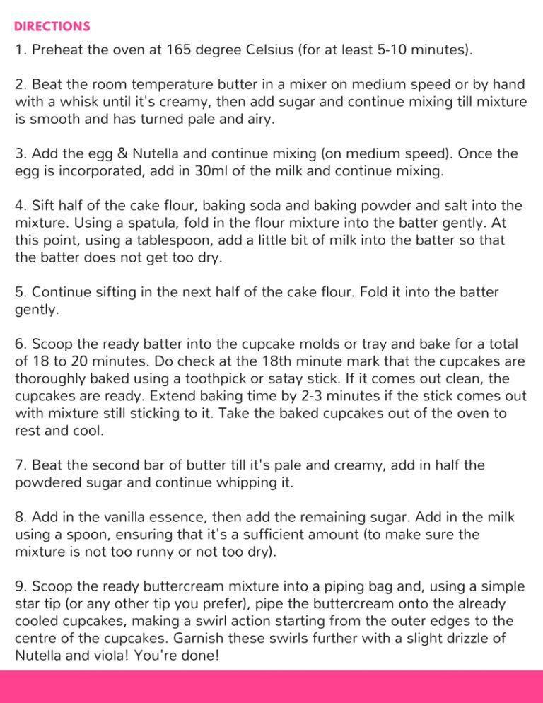 ONLYKAI Nutella Cupcake Recipe Directions