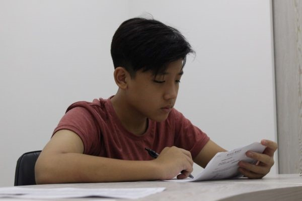 Boy studying in a Words Worth class