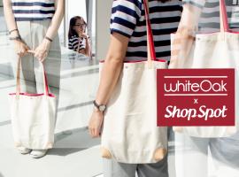 Whiteoak x ShopSpot กระเป๋าผ้าแคนวาส สายหนังสีแดง รุ่นพิเศษ