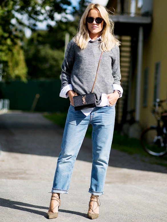 boyfriend-jeans-cuffed-jeans-heels-jeans-sweater-and-collared-shirt-fall-layers-preppy-mini-bag-ysl-purse-lace-up-heels-grey-gray-sweater-weekend-casual-via-stockholm-street-style