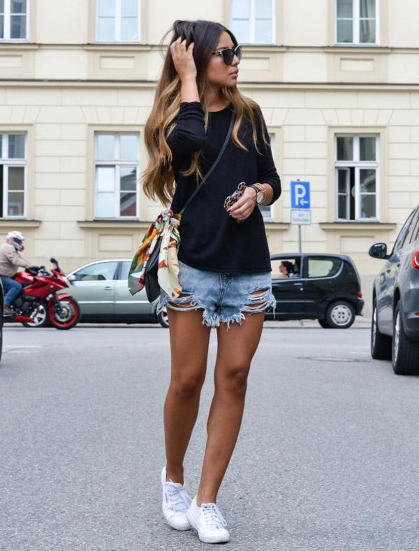 blue-blouse-street-style-denim-destroyed-shorts-white-sneaker