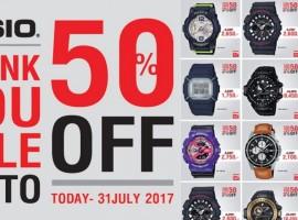 คนรักนาฬิกา ห้ามพลาด! CASIO THANK YOU SALE 2017 ลดสูงสุด 50% เลยจ้า