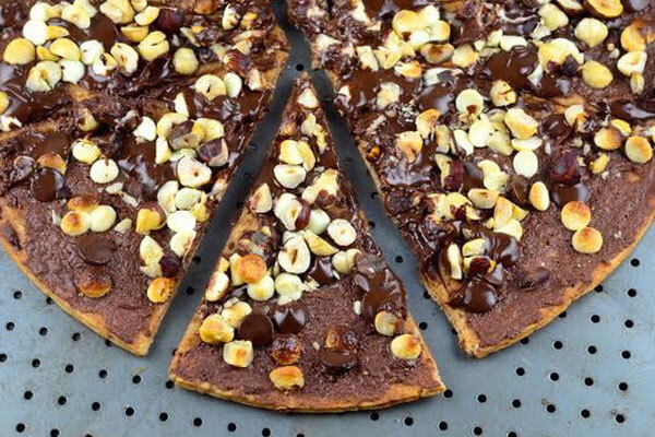 chocolate pizzas slathered in chocolate sauce