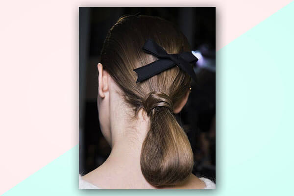 flat bow hairstyle with ribbon