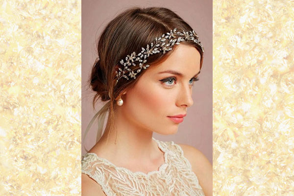 low knot with hairband bridal hairstyle
