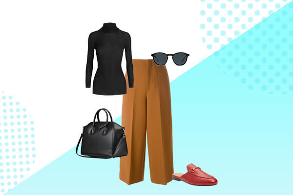 pair turtleneck with leg culottes