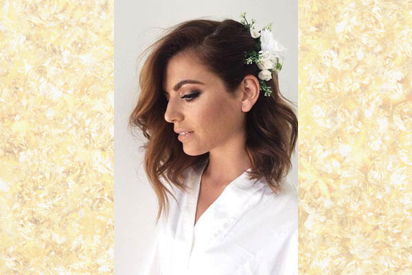 pinned back waves bridal hairstyle