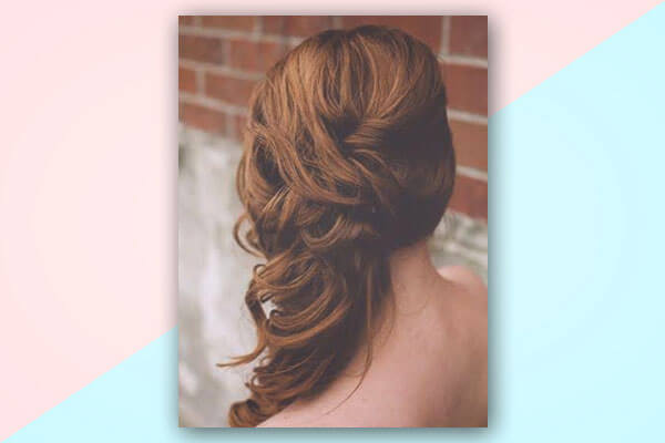 side swept curls bridal hairstyle