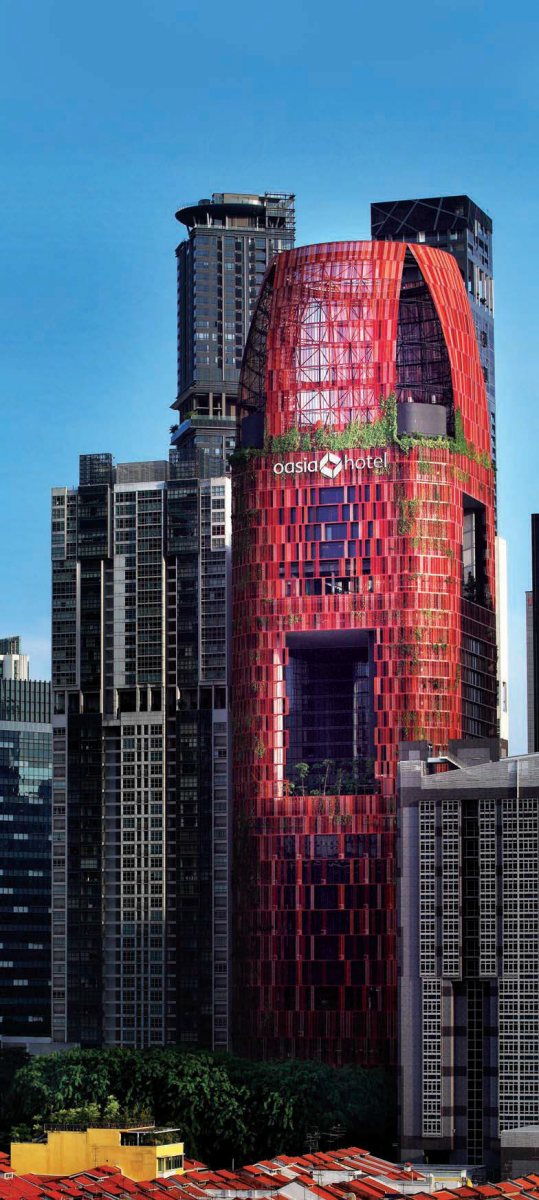 The distinctive red, 27-storey Oasia Hotel Downtown designed by WOHA was completed last December - EDGEPROP SINGAPORE