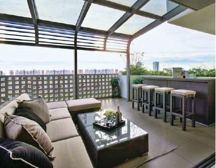 Unlike terraces on the ground level, sturdy furniture and planters are needed for roof terraces, given the increased wind speed at higher altitudes - EDGEPROP SINGAPORE