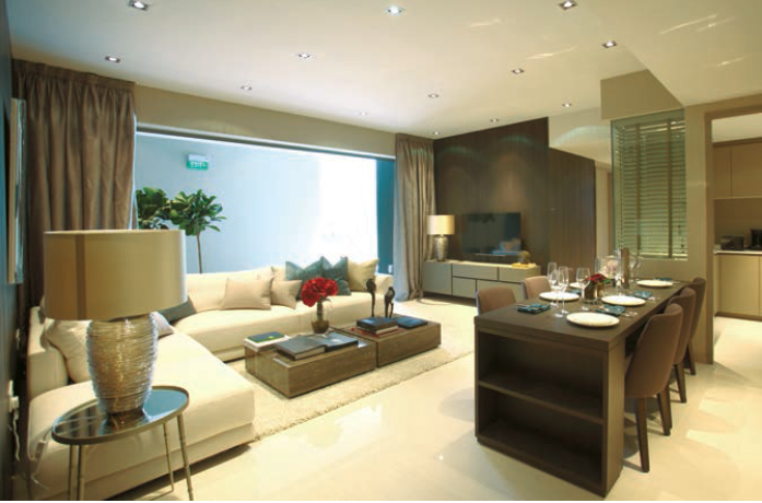 living room of a five-bedroom CoSpace unit