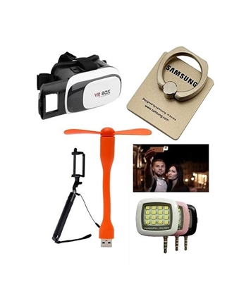 Picture of VR BOX 3D Headset + Ring Stand + USB Fan + Selfie Stick and LED Flash Light Combo By Hi-Tech BD