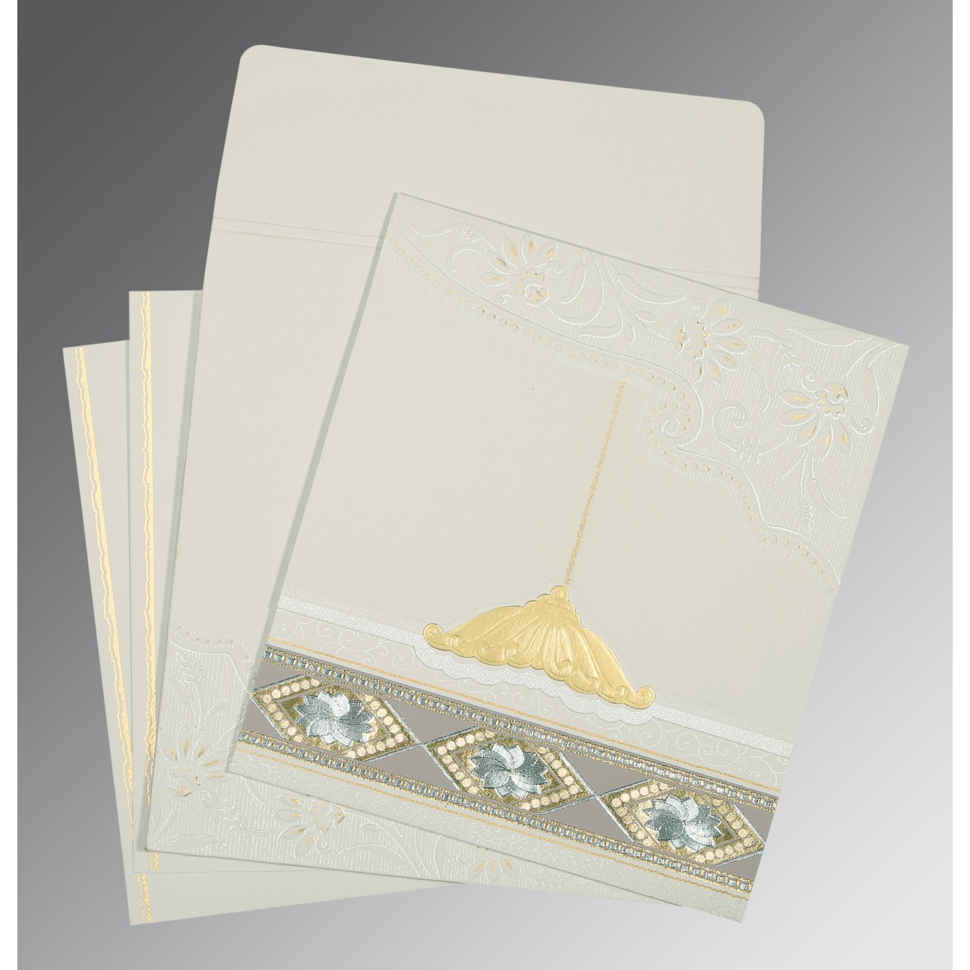 OFF-WHITE MATTE BOX THEMED - FOIL STAMPED WEDDING CARD : C-1228 - 123WeddingCards