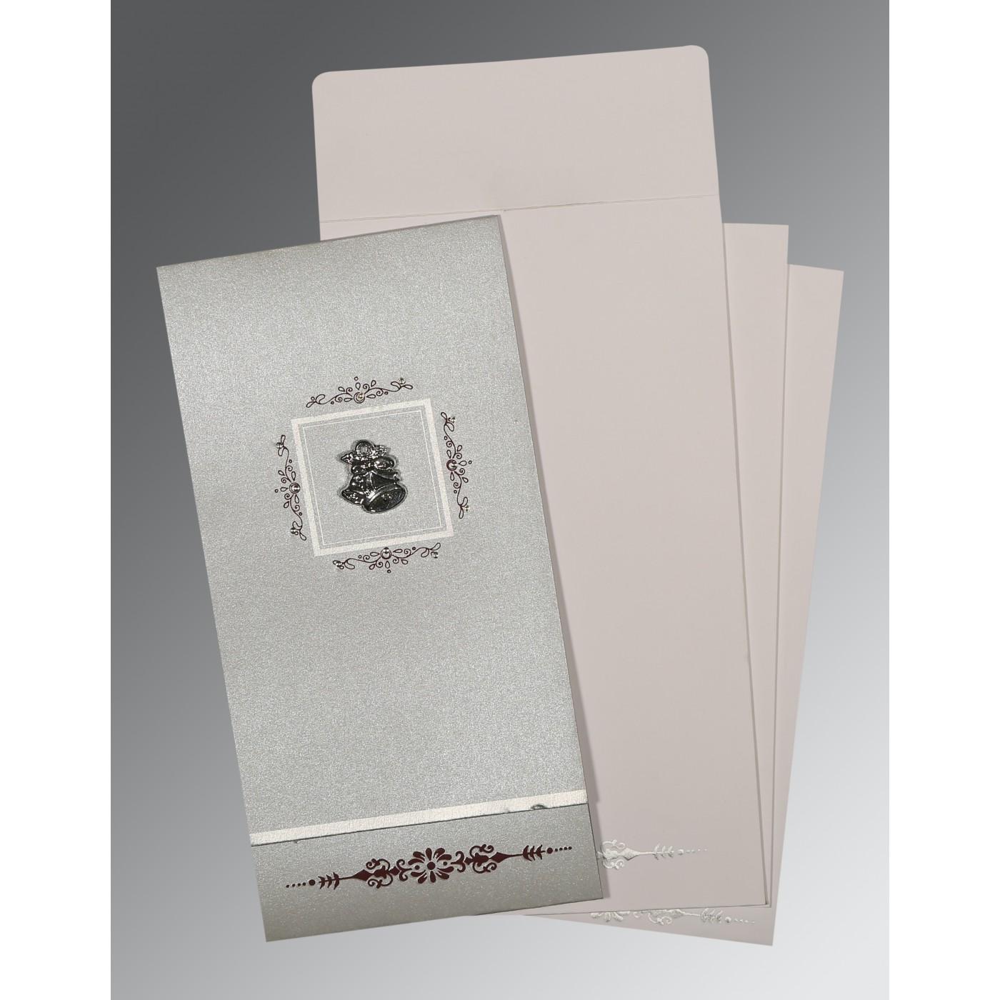 LIGHT GREY SHIMMERY EMBOSSED WEDDING CARD : C-1427 - 123WeddingCards