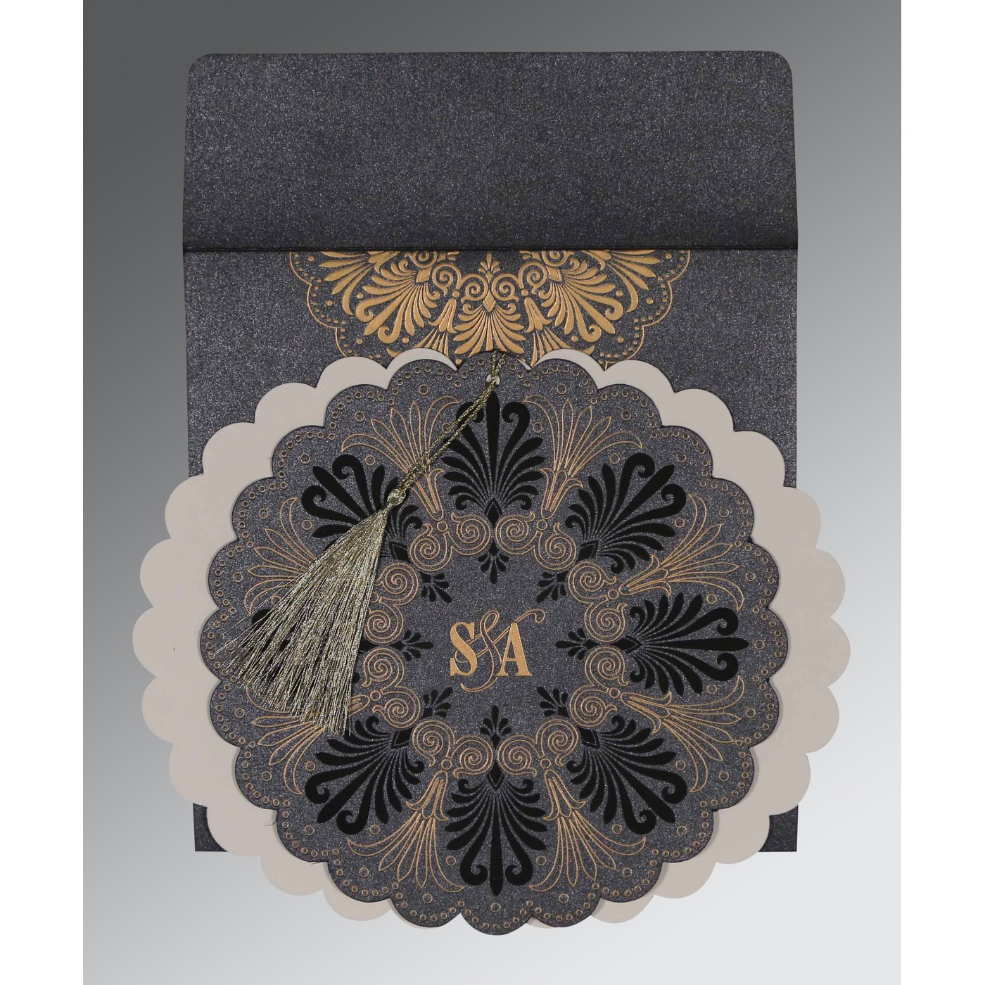 GRAPHITE GREY SHIMMERY FLORAL THEMED - EMBOSSED WEDDING CARD : I-8238D - 123WeddingCards