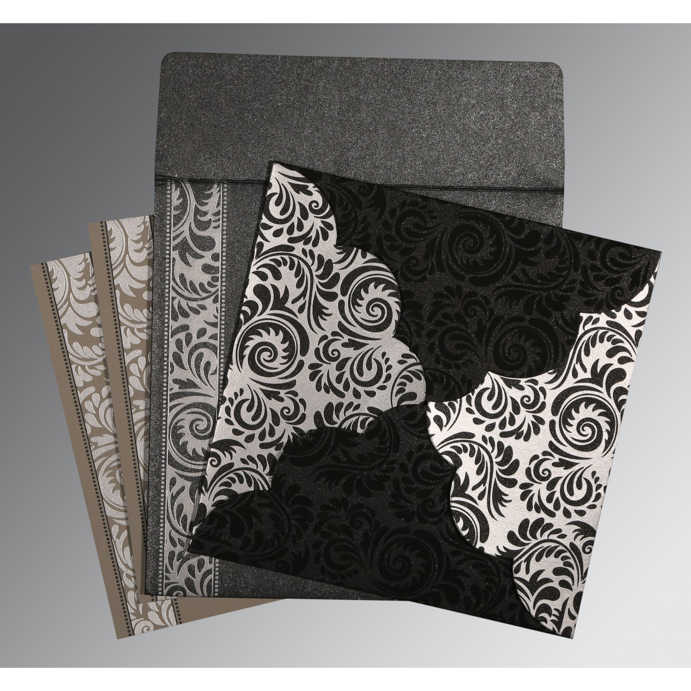 BLACK SHIMMERY FLORAL THEMED - SCREEN PRINTED WEDDING CARD : C-8235I - 123WeddingCards