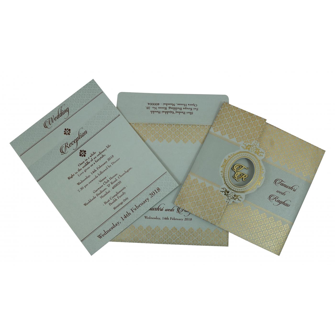 SHELL GREY SHIMMERY FOIL STAMPED WEDDING INVITATION : C-1801 - 123WeddingCards