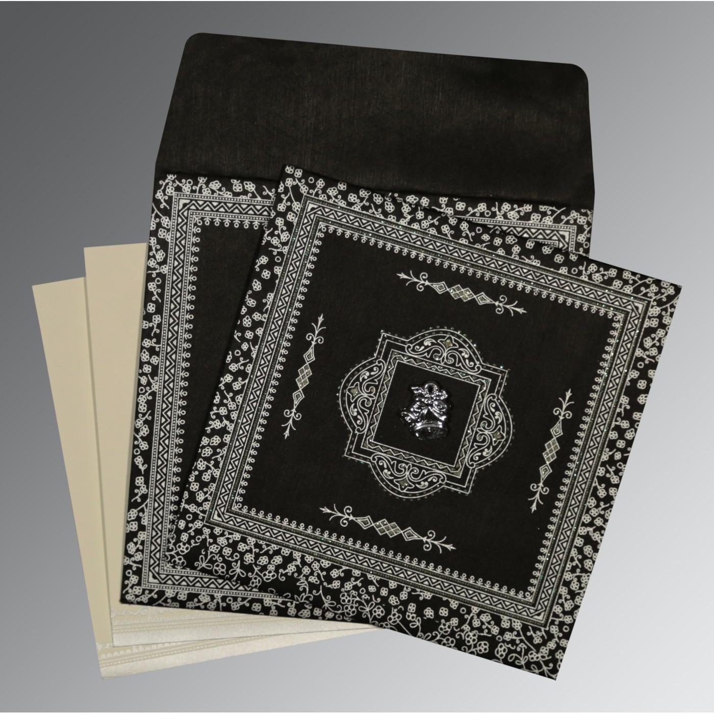 BLACK WOOLY GLITTER WEDDING CARD : C-8205L - 123WeddingCards