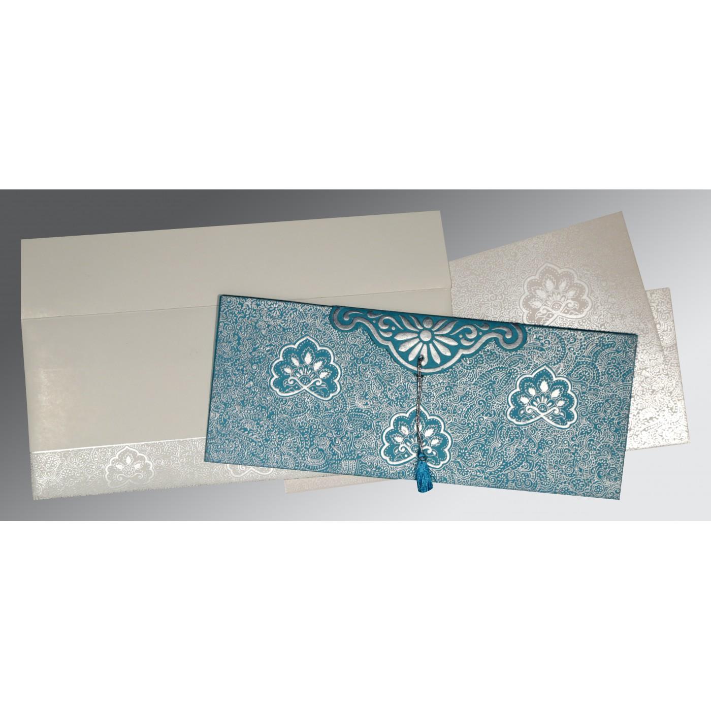 TEAL BLUE HANDMADE COTTON EMBOSSED WEDDING INVITATION : C-1410 - 123WeddingCards