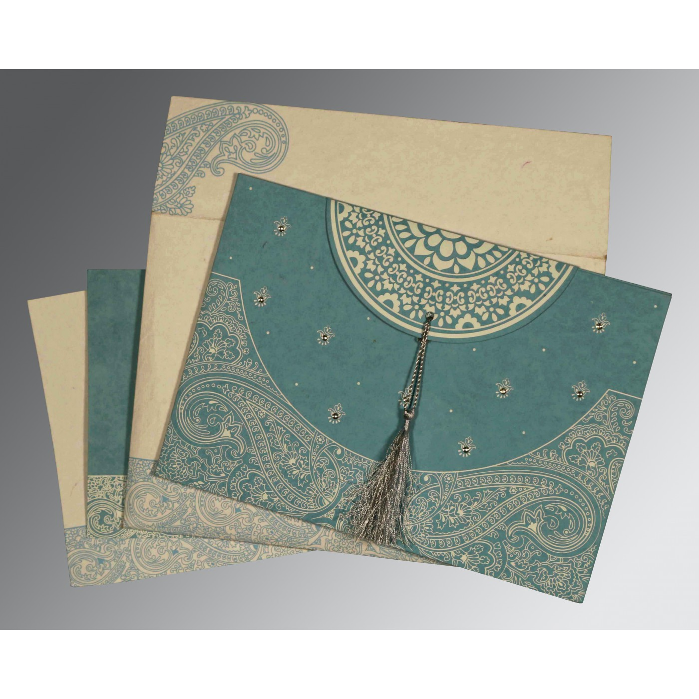 BURMUDA GREY HANDMADE COTTON EMBOSSED WEDDING CARD : C-8234E - 123WeddingCards