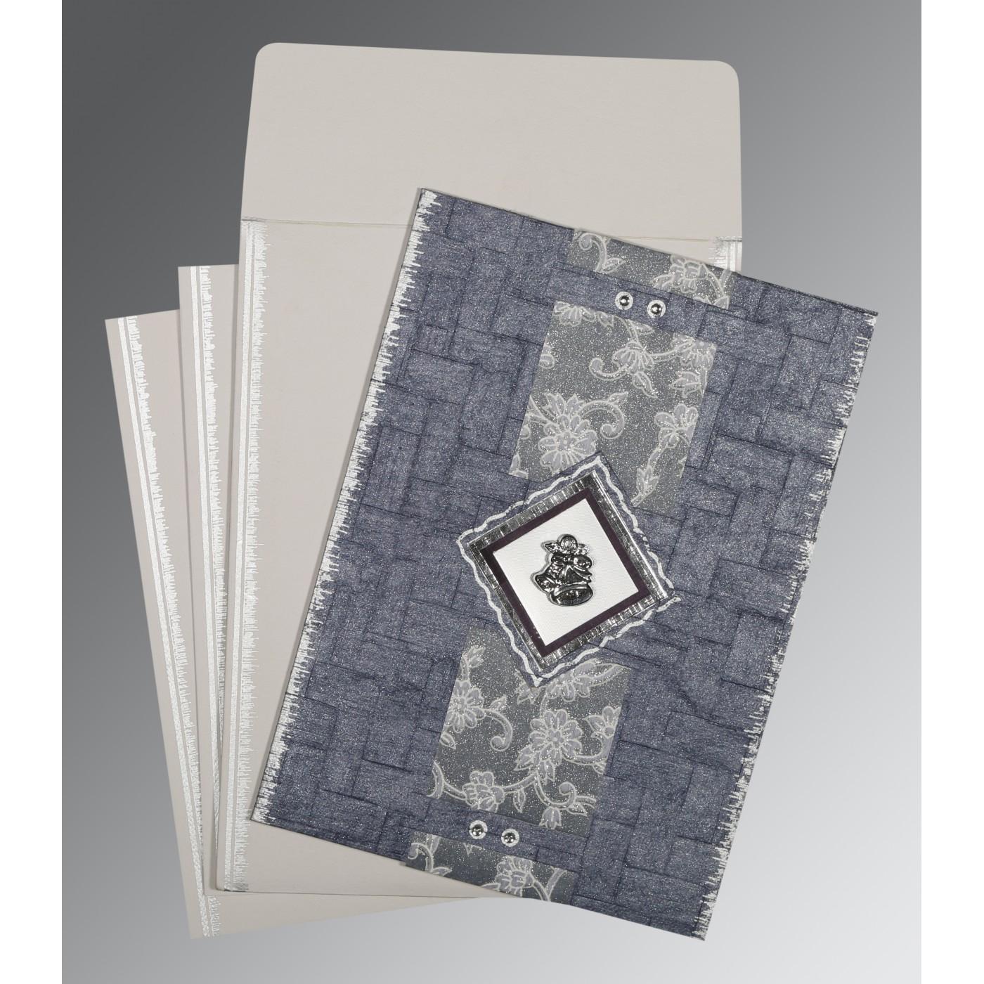 GRAYISH BLUE HANDMADE COTTON SCREEN PRINTED WEDDING CARD : C-1277 - 123WeddingCards