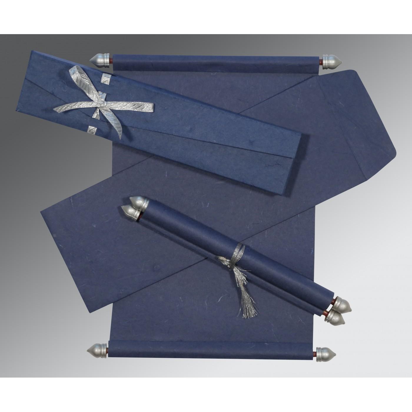 BLUE HANDMADE SILK WEDDING CARD : SC-5001A - 123WeddingCards