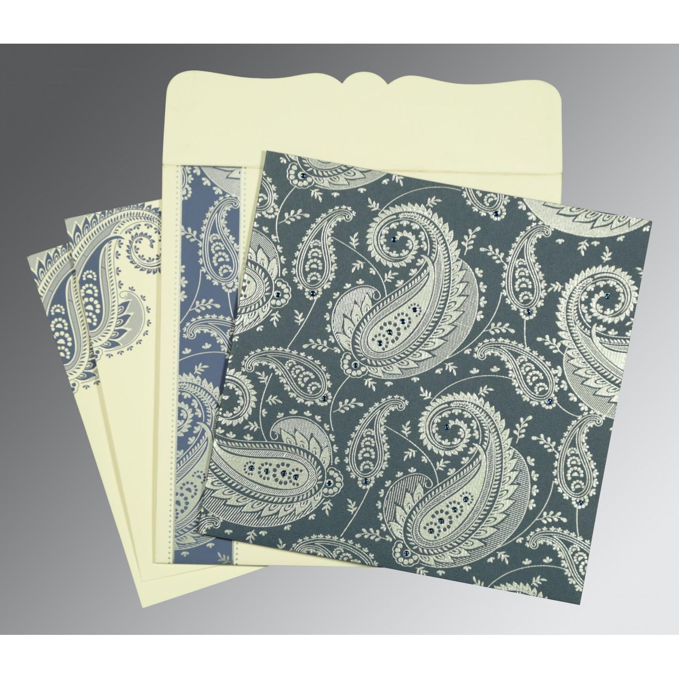TEAL BLUE MATTE SCREEN PRINTED WEDDING CARD : C-8250E - 123WeddingCards