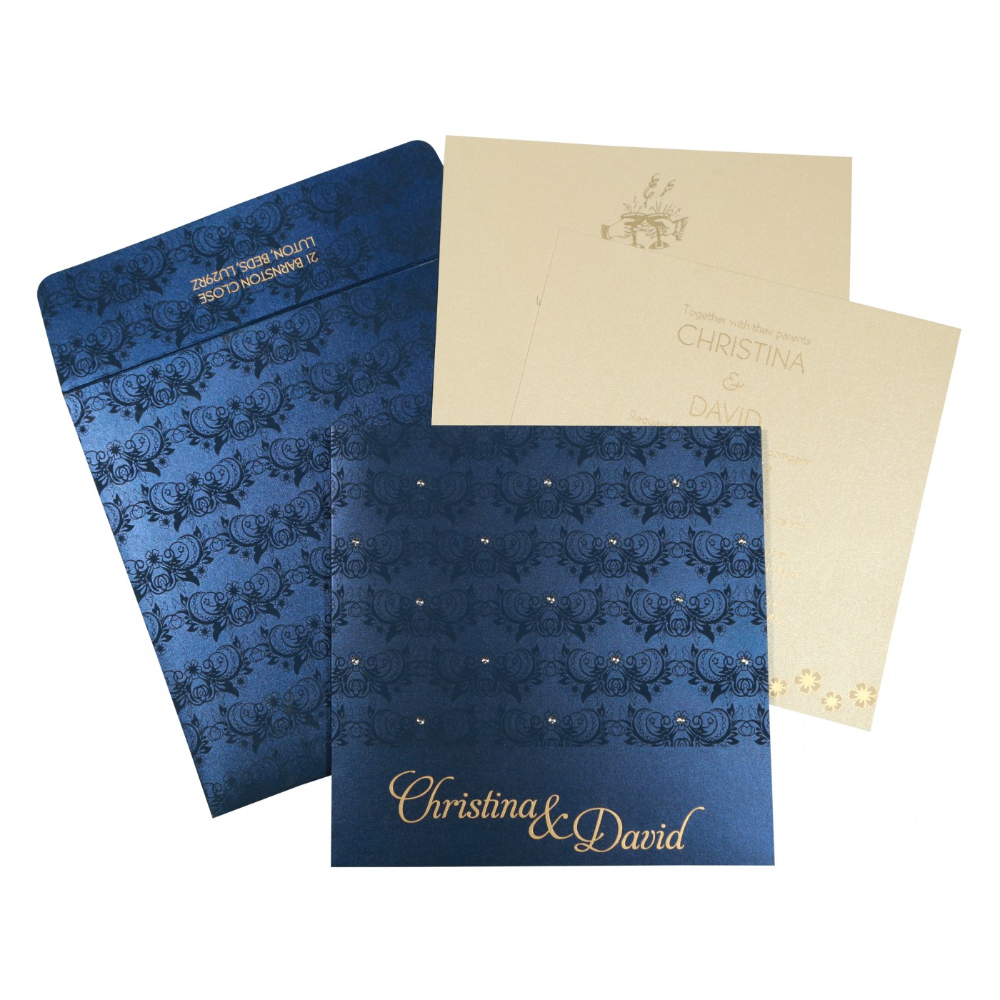 COBALT BLUE SHIMMERY BUTTERFLY THEMED - SCREEN PRINTED WEDDING CARD : C-8258A - 123WeddingCards
