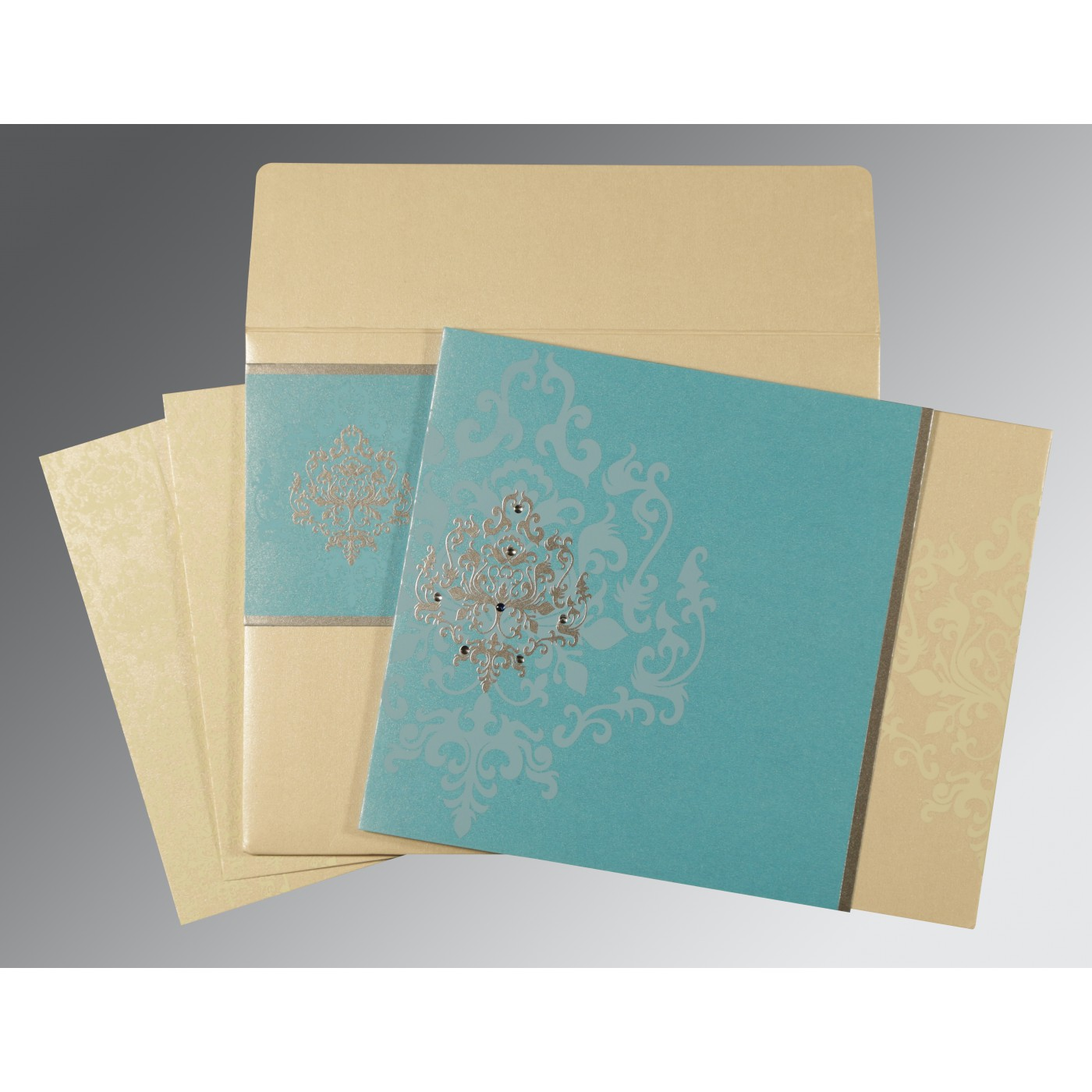 IVORY TURQUOISE BLUE SHIMMERY DAMASK THEMED - SCREEN PRINTED WEDDING CARD : C-8253E - 123WeddingCards