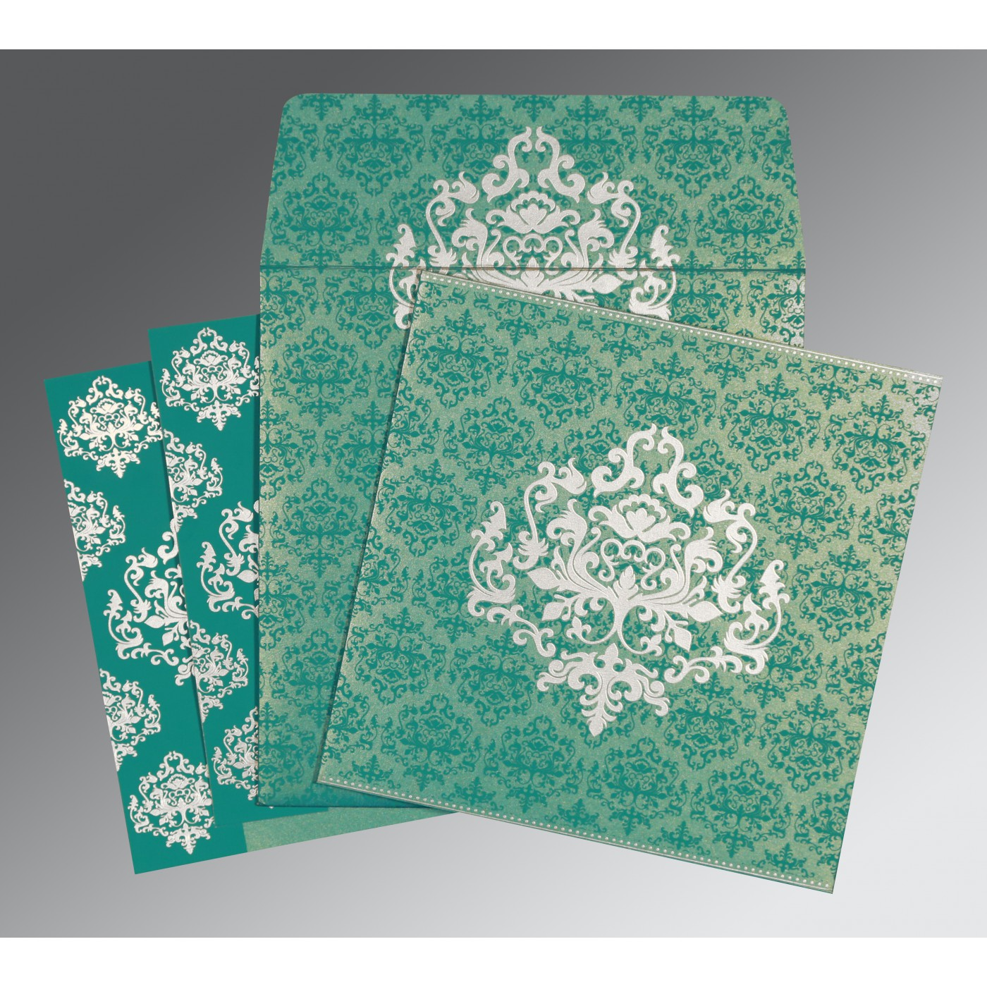 TURQUOISE BLUE SHIMMERY DAMASK THEMED - SCREEN PRINTED WEDDING CARD : C-8254E - 123WeddingCards