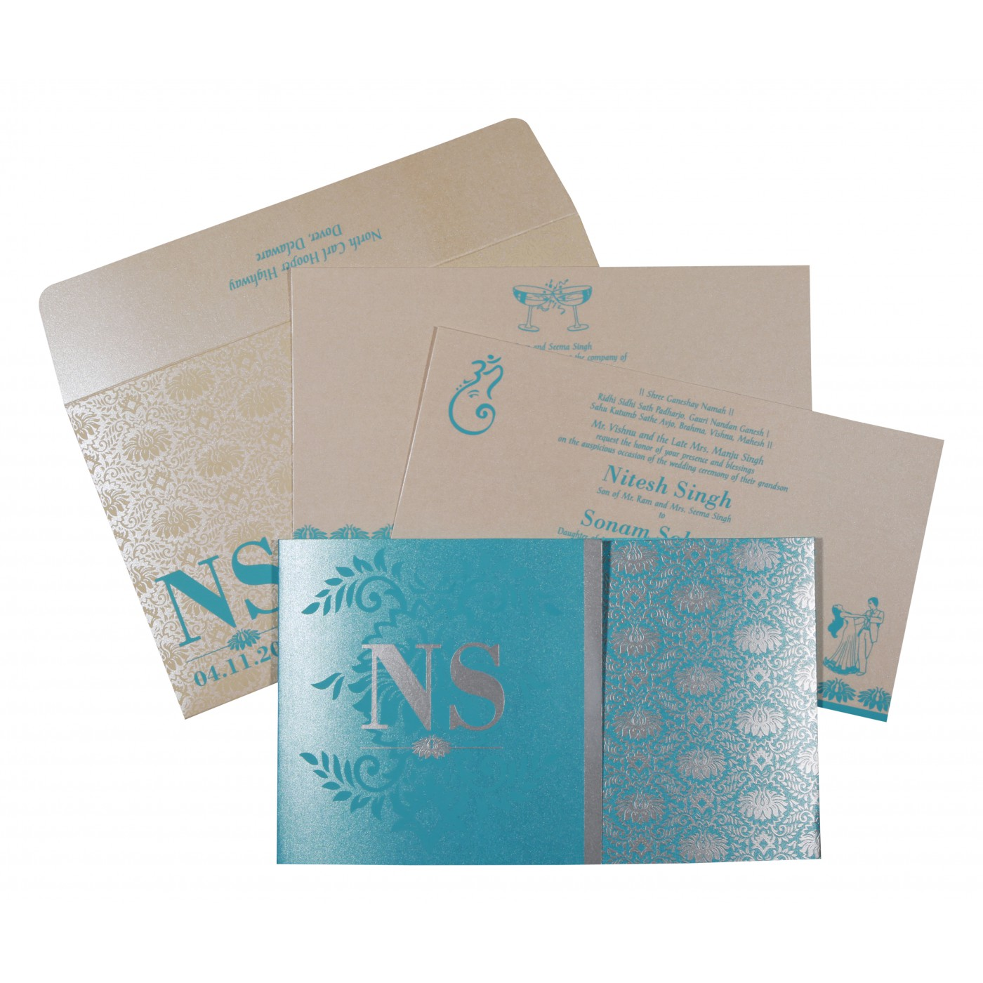 TURQUOISE BLUE SHIMMERY DAMASK THEMED - SCREEN PRINTED WEDDING INVITATION : C-8261E - 123WeddingCards