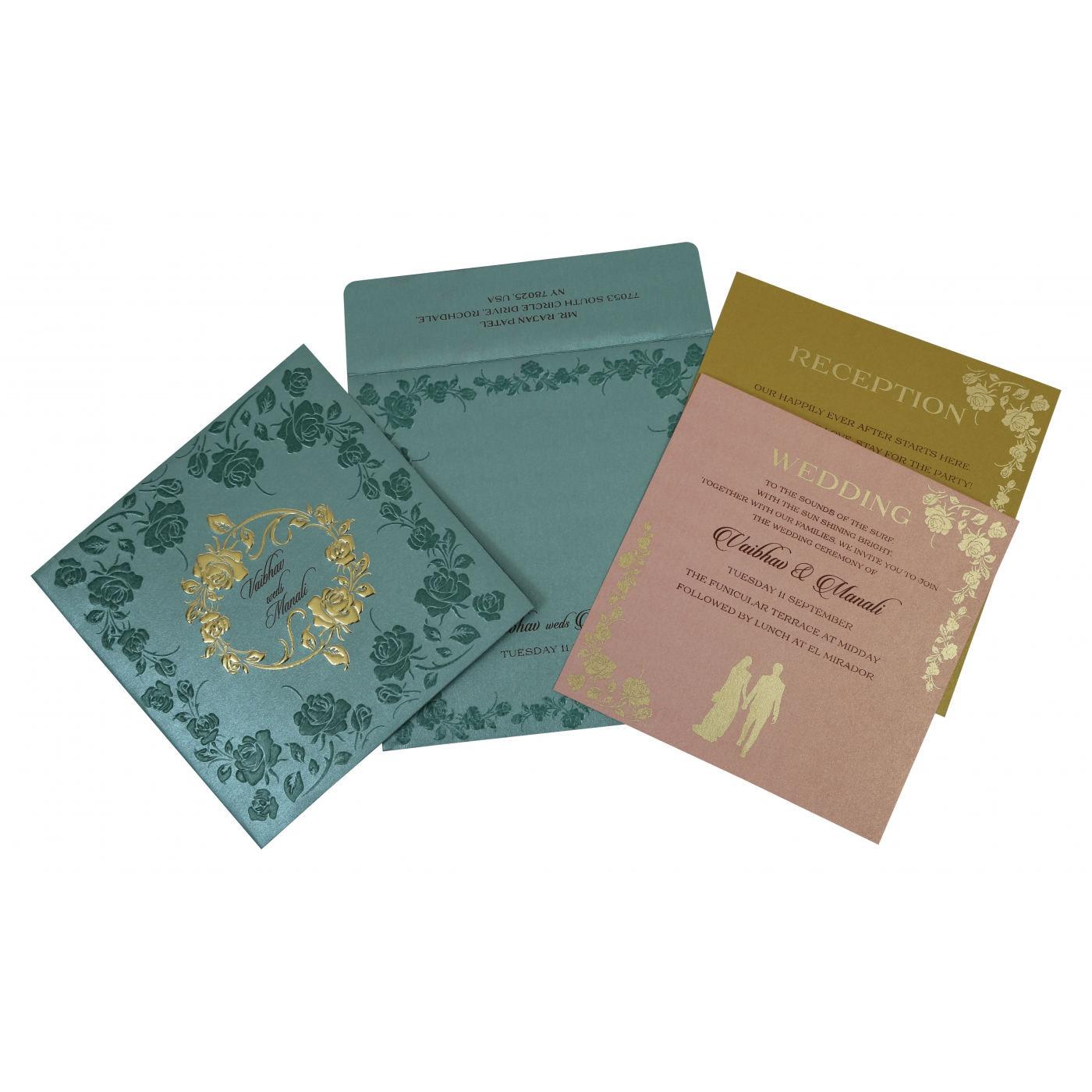 TOPAZ BLUE SHIMMERY FLORAL THEMED - FOIL STAMPED WEDDING INVITATION : D-1794 - 123WeddingCards