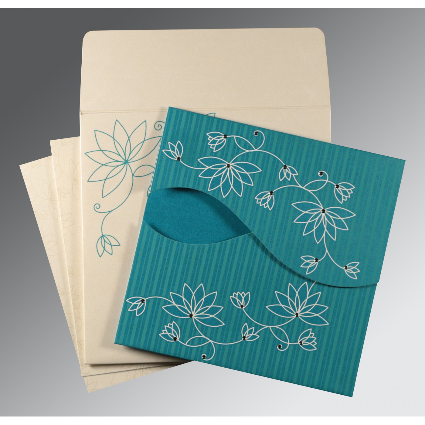 TURQUOISE BLUE SHIMMERY FLORAL THEMED - SCREEN PRINTED WEDDING INVITATION : IN-8251G - 123WeddingCards