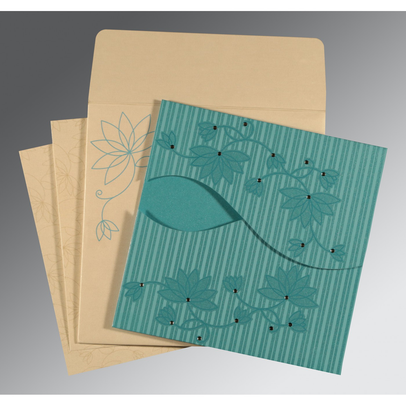 TURQUOISE BLUE SHIMMERY FLORAL THEMED - SCREEN PRINTED WEDDING INVITATION : W-8251A - 123WeddingCards