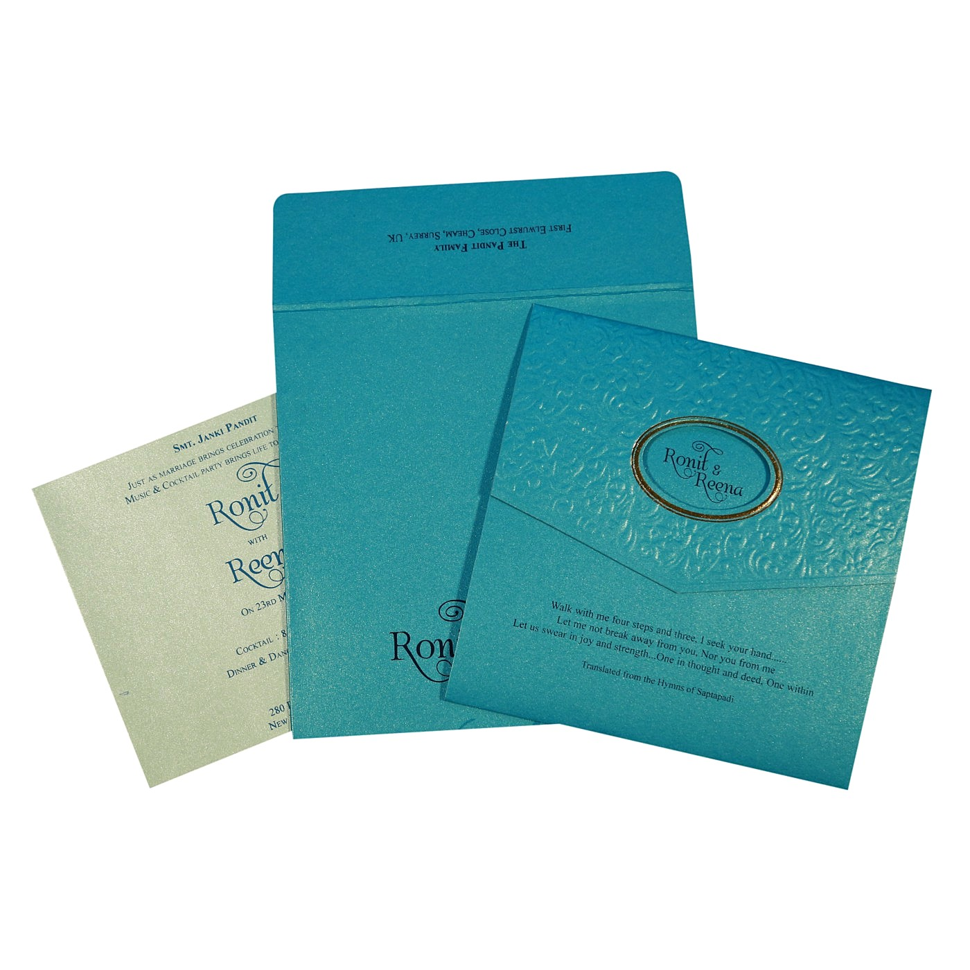 TURQUOISE BLUE SHIMMERY FOIL STAMPED WEDDING INVITATION : C-1737 - 123WeddingCards