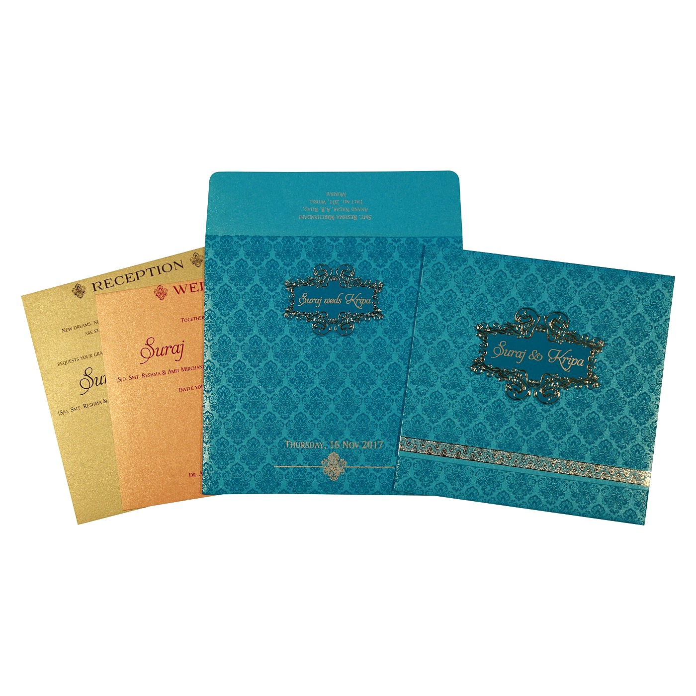 TURQUOISE BLUE SHIMMERY FOIL STAMPED WEDDING INVITATION : C-1729 - 123WeddingCards