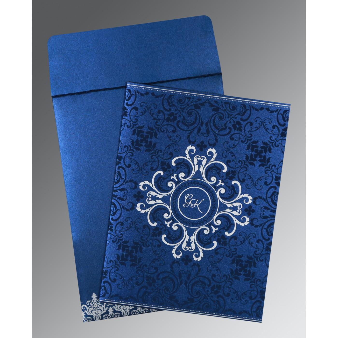 COBALT BLUE SHIMMERY SCREEN PRINTED WEDDING CARD : C-8244K - 123WeddingCards