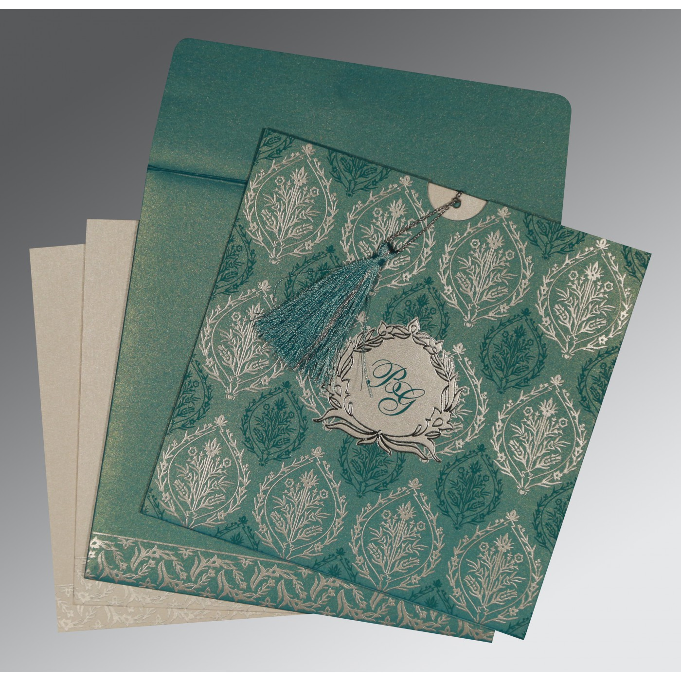 TEAL BLUE SHIMMERY UNIQUE THEMED - FOIL STAMPED WEDDING CARD : C-8249D - 123WeddingCards