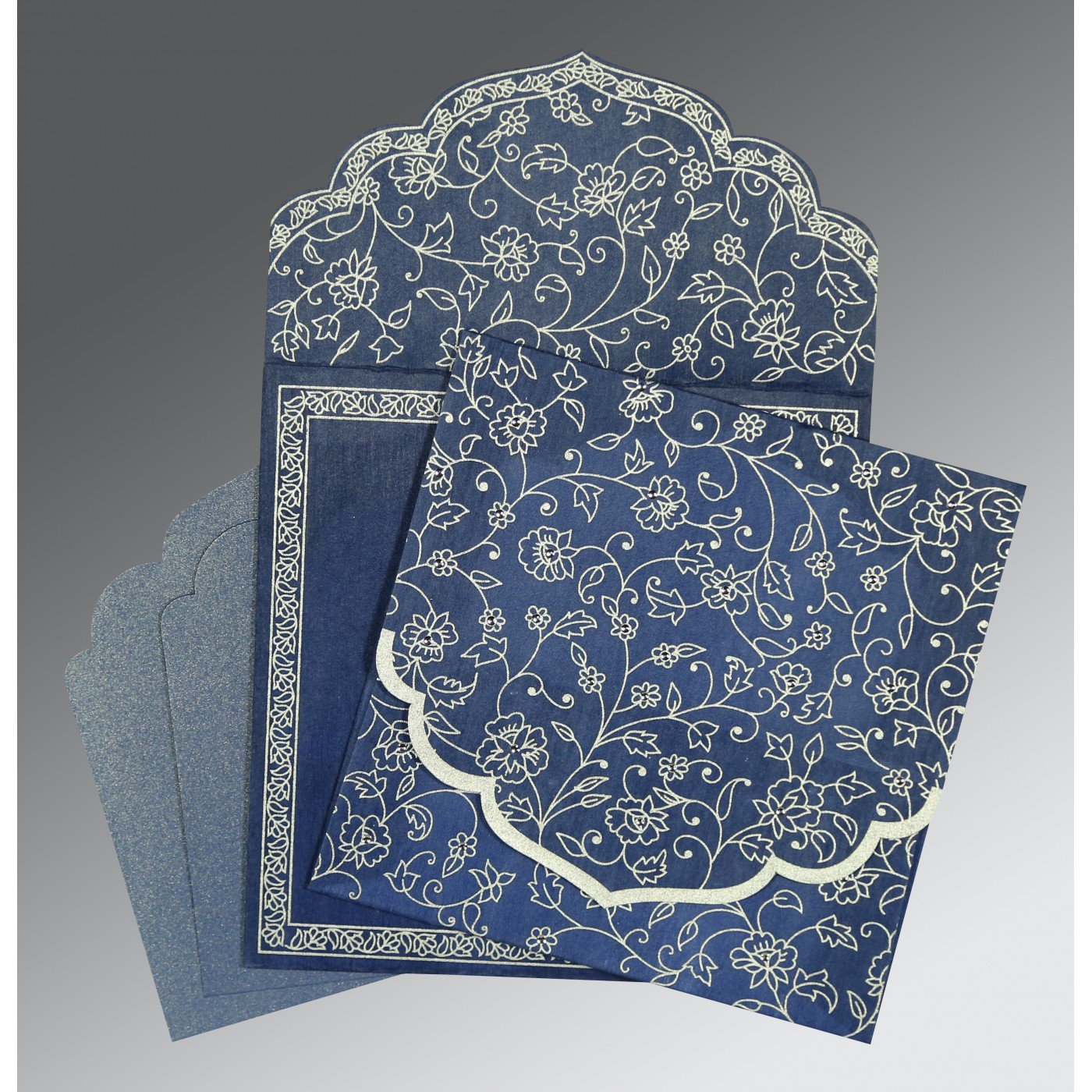 COBALT BLUE WOOLY FLORAL THEMED - SCREEN PRINTED WEDDING INVITATION : C-8211P - 123WeddingCards