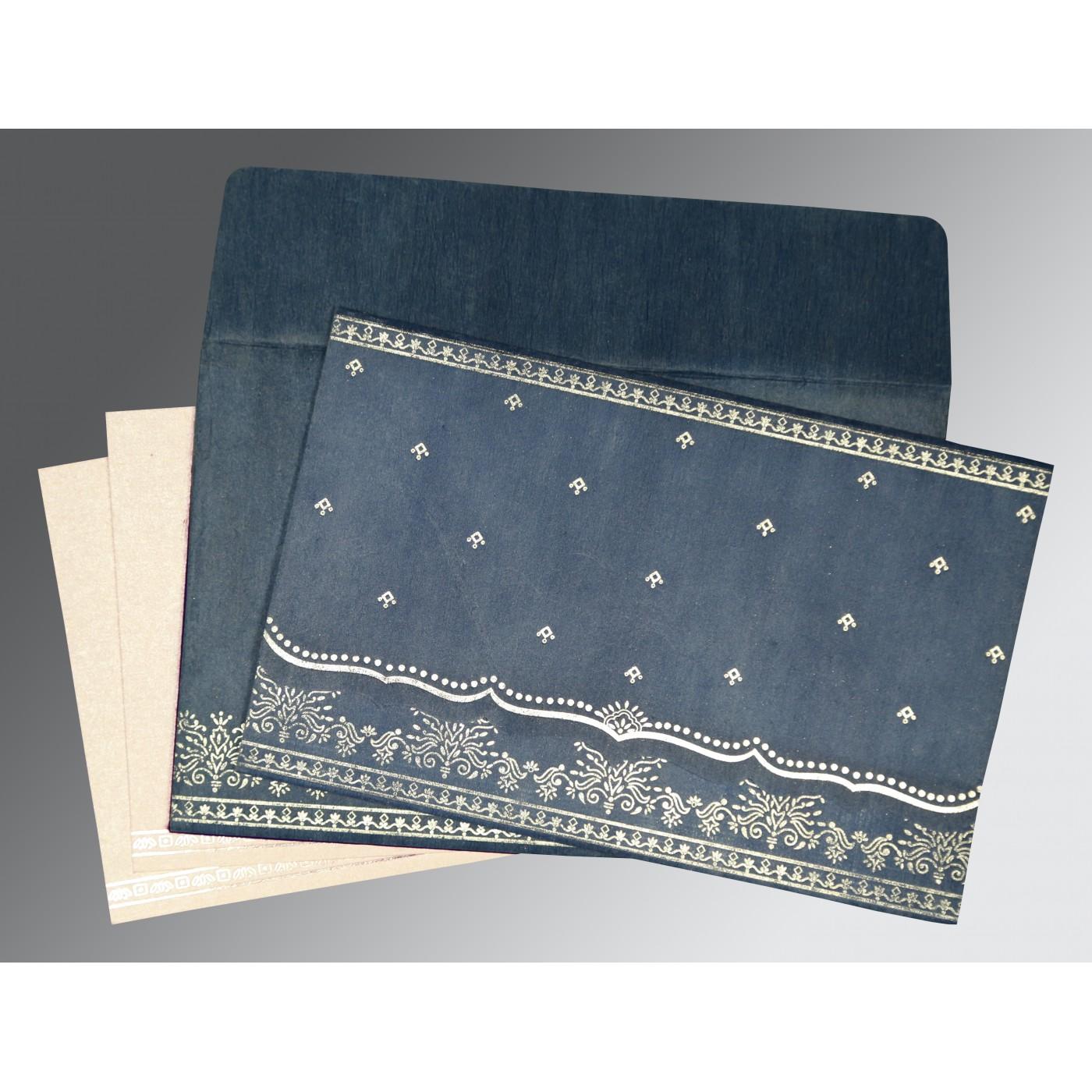 SMOKE BLUE WOOLY FOIL STAMPED WEDDING INVITATION : C-8241P - 123WeddingCards