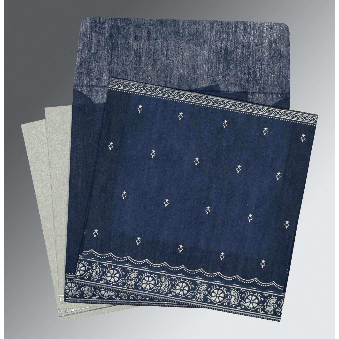 NAVY BLUE WOOLY FOIL STAMPED WEDDING CARD : C-8242J - 123WeddingCards